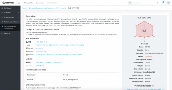 Cyberwatch Vulnerability Manager - 5 licences - OVHcloud Marketplace